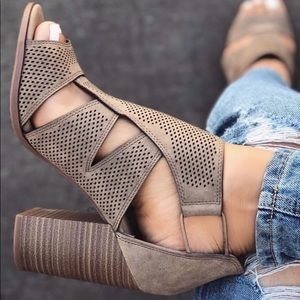Shoes - Light Taupe or Black Perforated Cut Out Heel